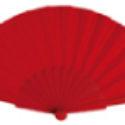 Abanico de Plástico Tela Roja