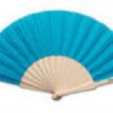 Abanico de Madera con Tela Azul