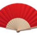 Abanico de Madera con Tela Roja