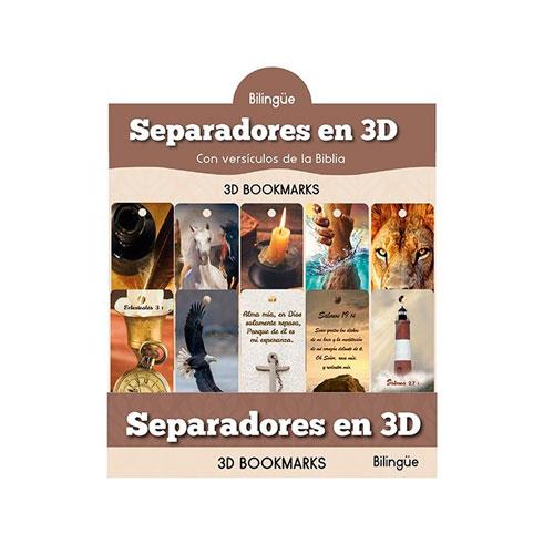 Separadores en 3D Versículos varios (Bilingüe )