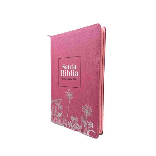 Biblia Ultrafina RVR60 tapa tela con cremallera Rosa con flores en plata